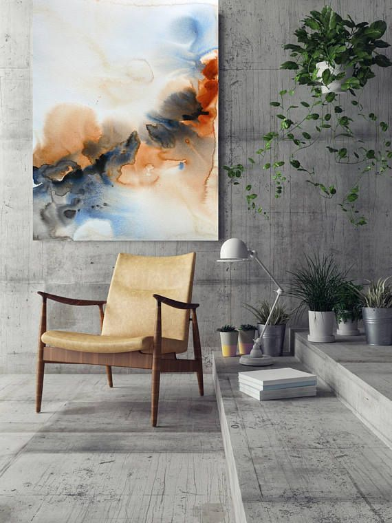 """#Watercolor Symphony 35. Watercolor #Abstract Brown Blue Orange Canvas #Art Print up to 72"""" by Irena Orlov WATERCOLOR ABSTRACT  My watercolor abstracts have a softer focus but... #contemporary #painting #modern #decor #orlov #gift #abstracts"""