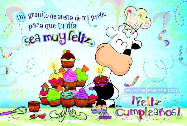 Vaca Flora haciendo cupcakes de cumpleaños u00a9 ZEA www tarjetaszea com Cumpleaños Pinterest