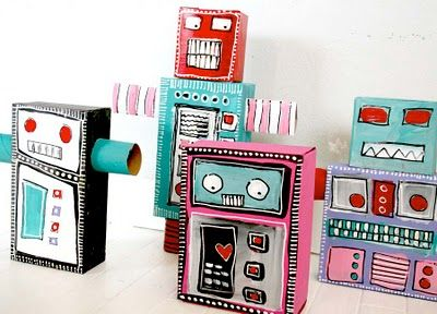 Painted recycled trash robots!  These are so cute!  I think I would put out these very colors for the students to use...could also use cans, tuna cans, screws, bolts, toilet paper tubes