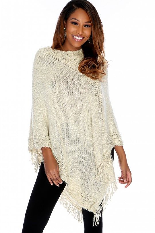 2e8ed9b08d3 Sexy Beige Knitted Fringe Hem Loose Poncho. Sexy Beige Knitted Fringe Hem  Loose Poncho Cute Clothes For Women