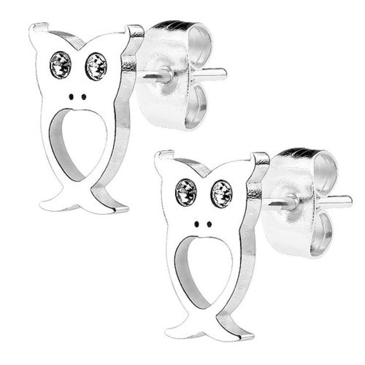 Ohrstecker Ohrringe Eulen silbern mit Kristallen