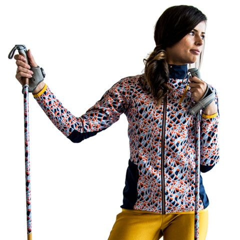 SWEARE XC 50/50 Jacket in the printed pattern Ice crack. All our fabrics with graphical patterns are printed with environmentally friendly colors in Sweden. These products are perfect for autumn and winter running and of course for XC skiing. All design and development made in Åre, Sweden. #älskasnö #vasaloppet #älskaåre #längdskidåkning #running #trailrunning #vinter