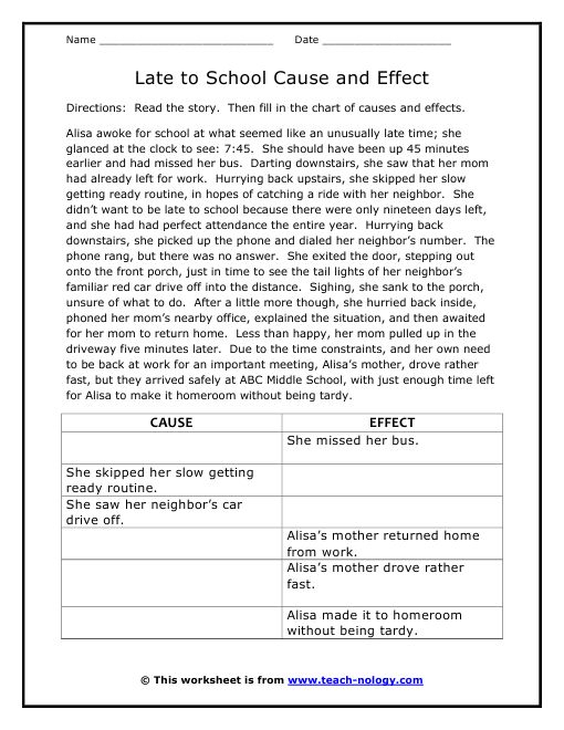 6th Grade Cause And Effect Worksheets 6th Grade Printable – Affect Effect Worksheet
