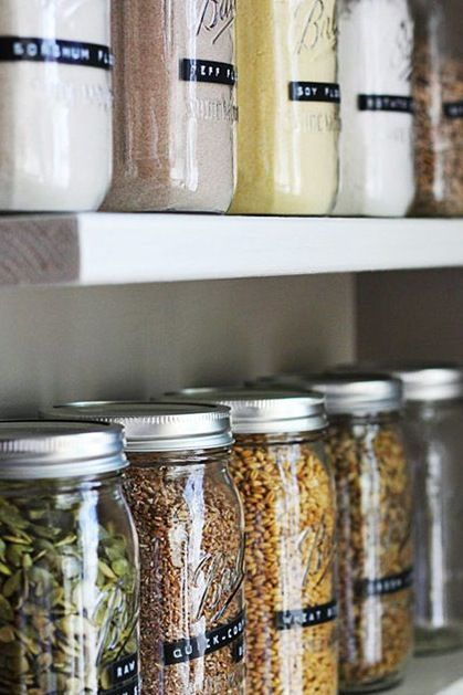 PUT DRY GOODS IN MASON JARS  Instead of jamming your cupboards with a million half-full bags and boxes, use old mason jars to store stuff like rice, spaghetti and dry beans. (Extra bonus: They'll keep out critters like pantry moths.)