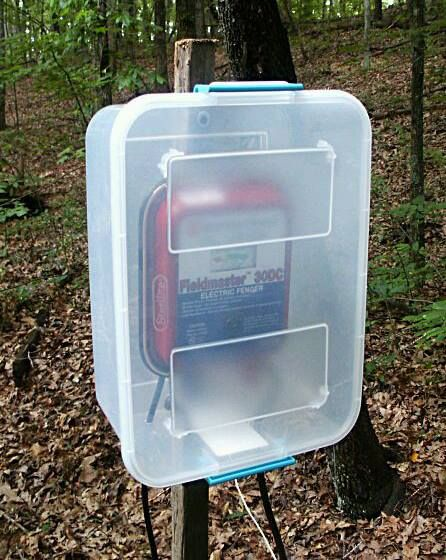 *Helpful Hint* If you screw a plastic storage with locking lid to the wooden post and hang your electric fence charger inside, drill 3 holes out the bottom (1 hole for plug, 1 hole for ground wire, 1 hole for hot wire) it will keep your charger out of the weather and you can still see right through the container to make sure it still flash
