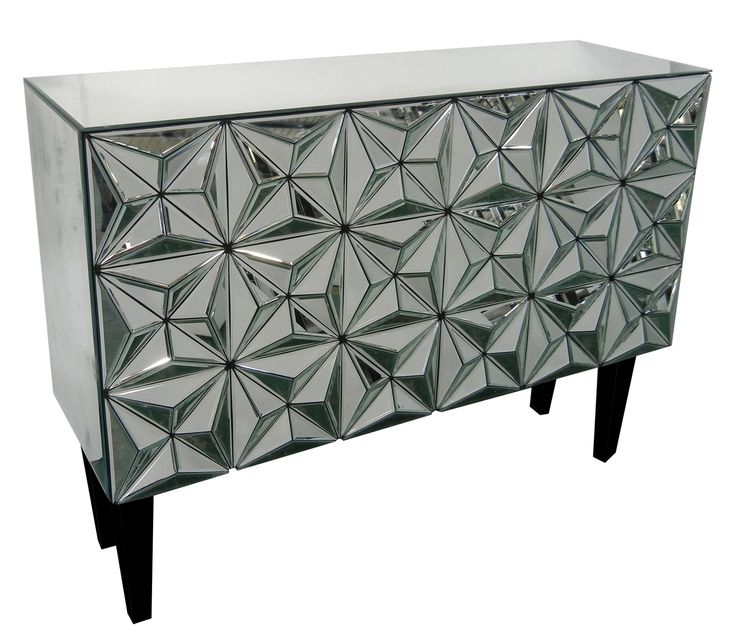 Crestview Collections Furniture Hollywood Geometric Mirror 2 Door Cabinet  Can Be Use Has A Buffet Or Bar, Eye Catching Cabinet.