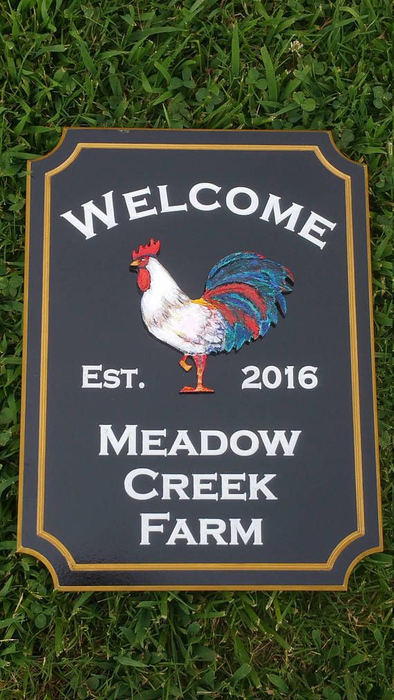 House Address PVC Board Outdoor Front Porch 3 D Rooster Welcome Sign