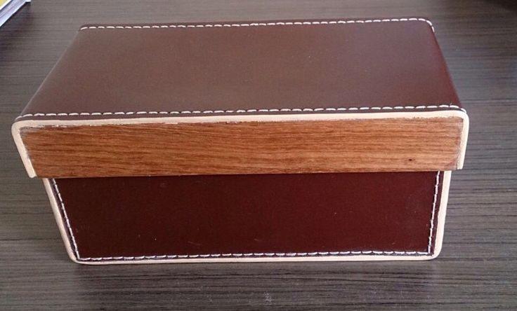 Caja rectangular#cuero#madera
