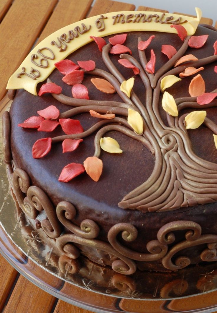 Autumn-Inspired Family Tree Birthday Cake By Charmpastry  on Cake Central