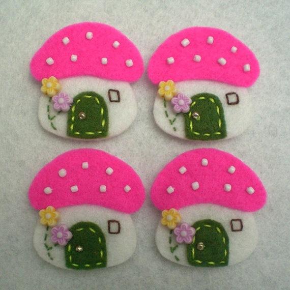 DOUBLE LAYERS Mushroom House Felt Applique (White Pink) - Set of 4 pcs. $5.00, via Etsy.