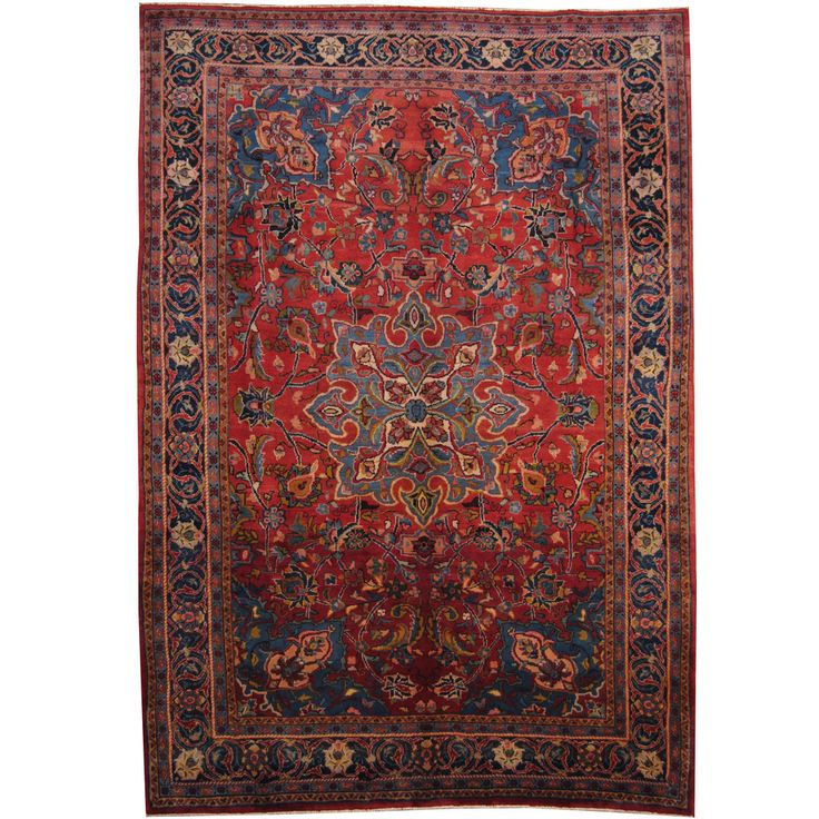 Herat oriental persian hand knotted 1960 39 s semi antique for Red and navy rug