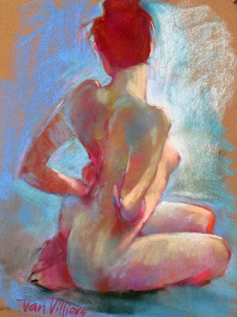 'In the Blue Room'. Pastel Painting by Dan Villiers
