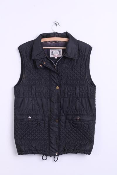 DISMERO Sportswear Mens S Bodywarmer Waistcoast Black Sleeveless Quilted - RetrospectClothes