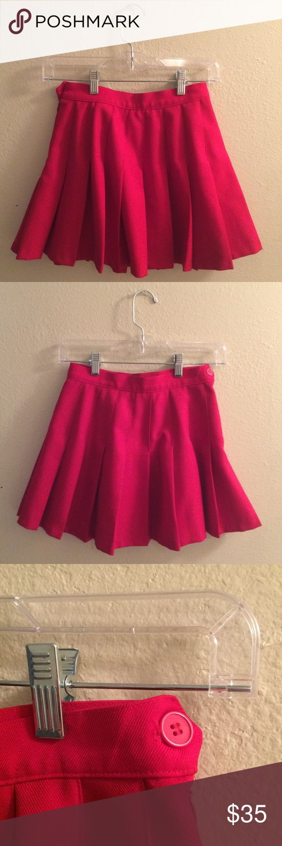 ✨ Valentine's Day! American Apparel tennis skirt ✨ An essential piece of the perfect Valentine's Day outfit! Cute, cherry red, mini tennis skirt from American Apparel. High-waisted, with a side zip and button closure. Please let me know if you have any questions or would like to make an offer! American Apparel Skirts Mini