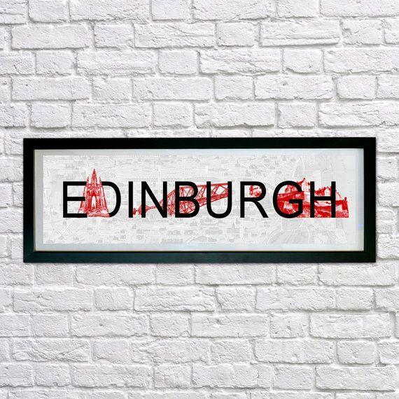 Edinburgh City print,  Typography print, wall art, personalised, wall decor, Edinburgh City artwork, Scottish Landmarks, Forth Bridge