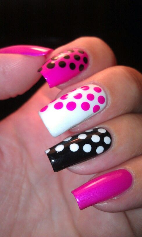 Black, White, and Pink Nails