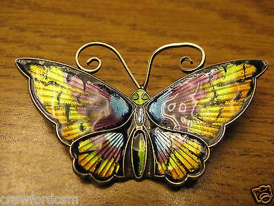 David Anderson Norway Sterling Silver Guilloche Enamel Butterfly Brooch 2 inches