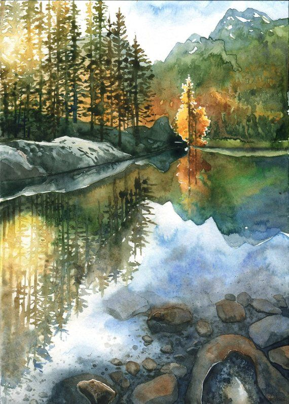 Fall In The Mountains Original Watercolor Painting Forest Landscape Watercolor Scenery Scenery Paintings Canvas Painting Landscape