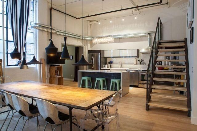 cuisine ouverte moderne escaliers table chaises îlot