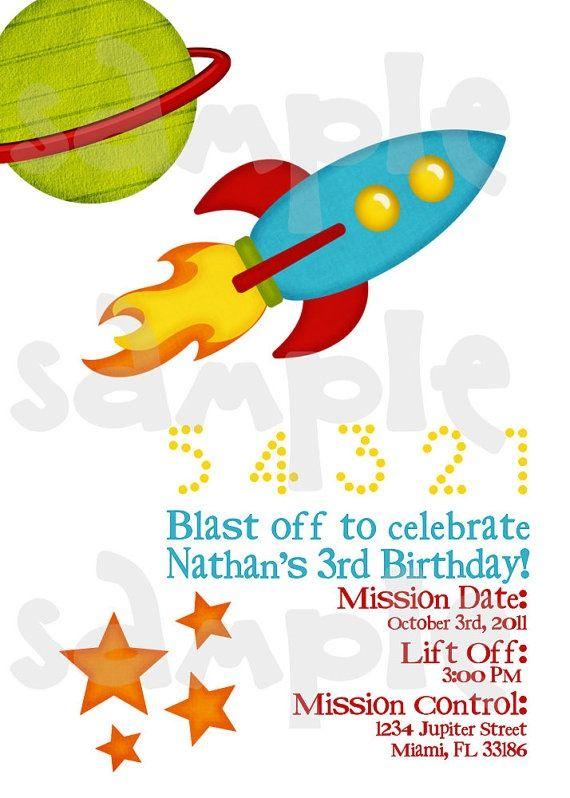 rocket party ideas | Rocket Spaceship Astronaut Birthday Invitation by HeartsandScraps, $10 ...