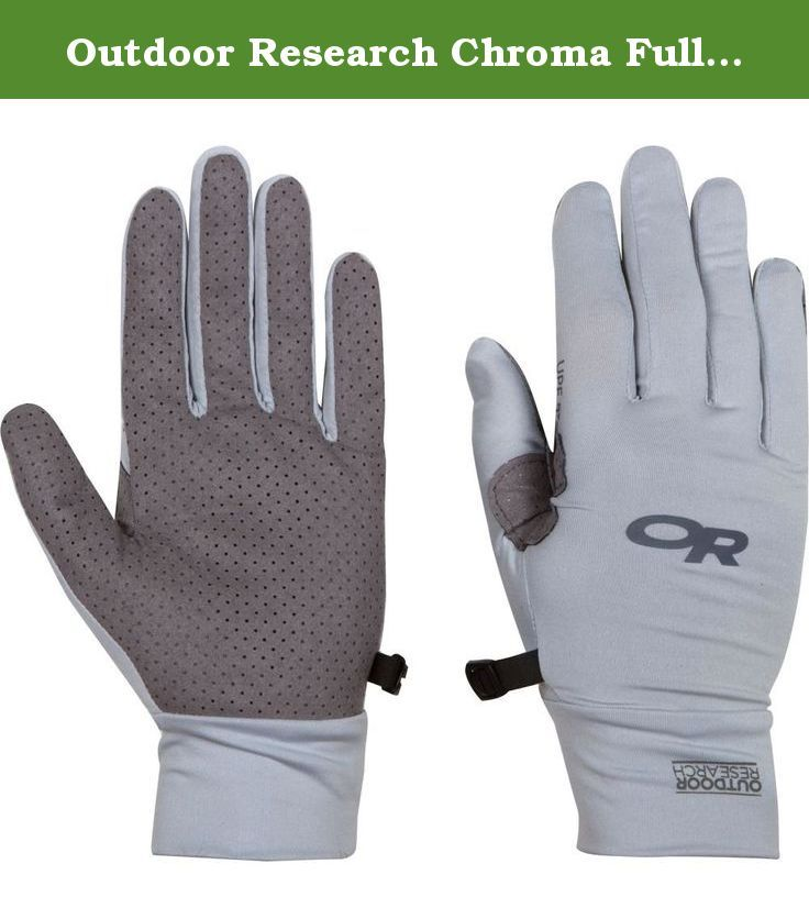 Outdoor Research Chroma Full Sun Gloves. Keep your mitts uncooked with the Chroma Full Sun Gloves, which provide full-finger and back-of-hand UPF 50+ protection with stretchy, breathable polyester fabric. The durable, perforated synthetic leather Chamude palms ensure a solid grip and easy, effective venting in hot weather.