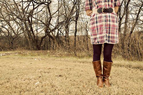 dress: Plaid Shirt Dresses, Dress Belts, Plaid Shirts, Tan Brown Belt, Thrift Store