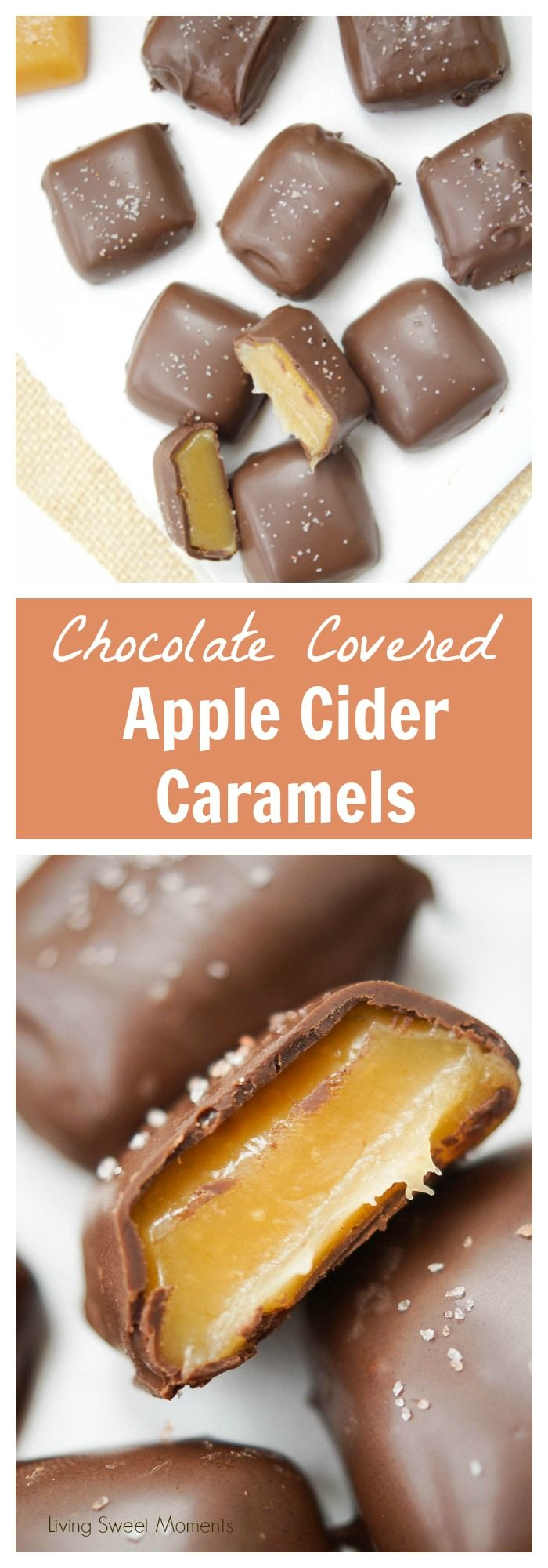 This chocolate covered Apple Cider Caramels recipe is easy to make. The perfect fancy dessert for fall. Made with reduced apple cider for a deeper taste. More recipes at livingsweetmoments.com