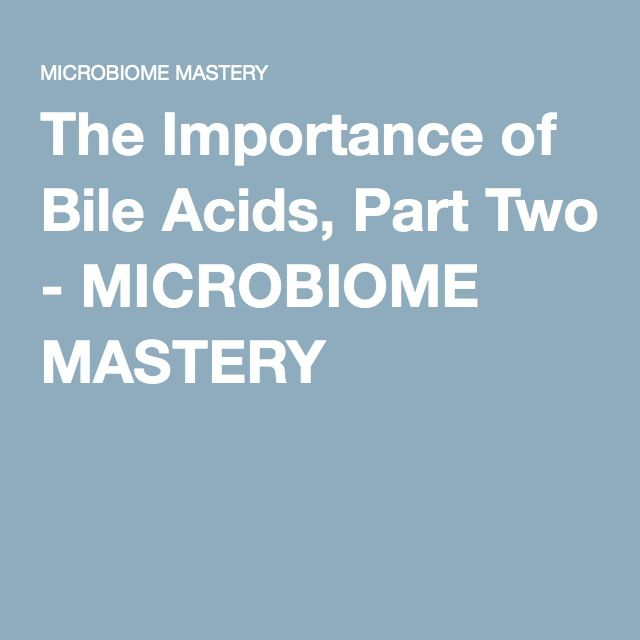 The Importance of Bile Acids, Part Two - MICROBIOME MASTERY -