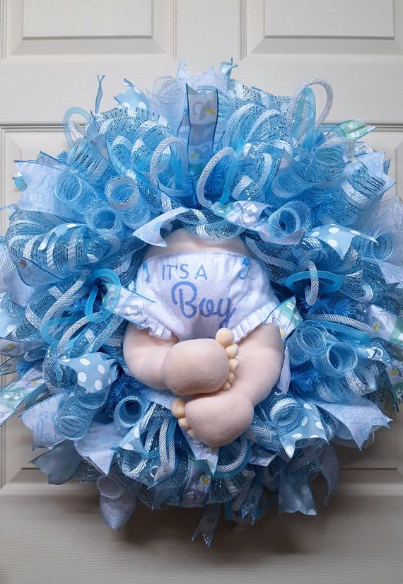Baby Boy Wreath, Baby Boy Birth Announcement Wreath, Nursery Door Wreth, A Gift…