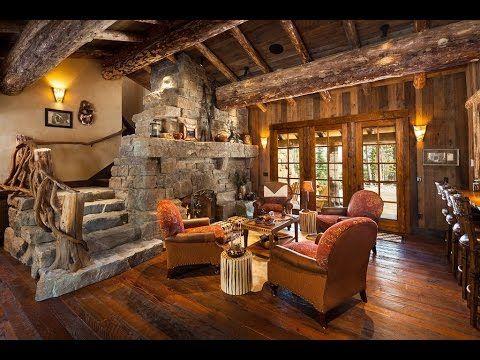 Old West Inspired Luxury Rustic Log Cabin In Big Sky Montana - YouTube