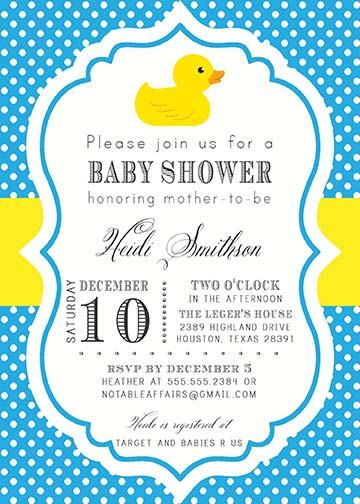 Rubber Duck Polka Dot Baby Shower Birthday Party Gender Reveal Invitation    Colors Can Be Changed