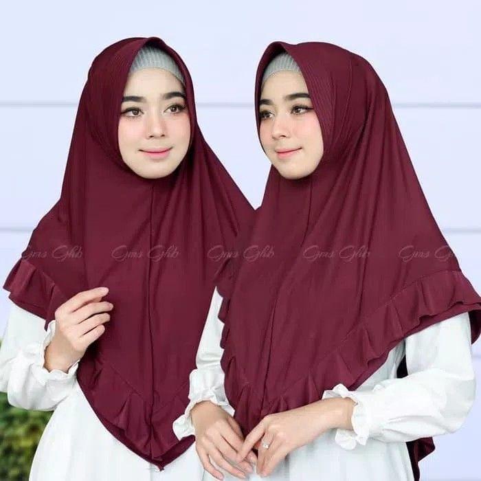 Hijab Khimar Zalina Hijab Khimar Syari Pad Antem Dengan Variasi Rempel Berlayer Di Sekeliling Khimar Praktis Namun Tetap Syari Cocok Di Hijab Model Kerudung