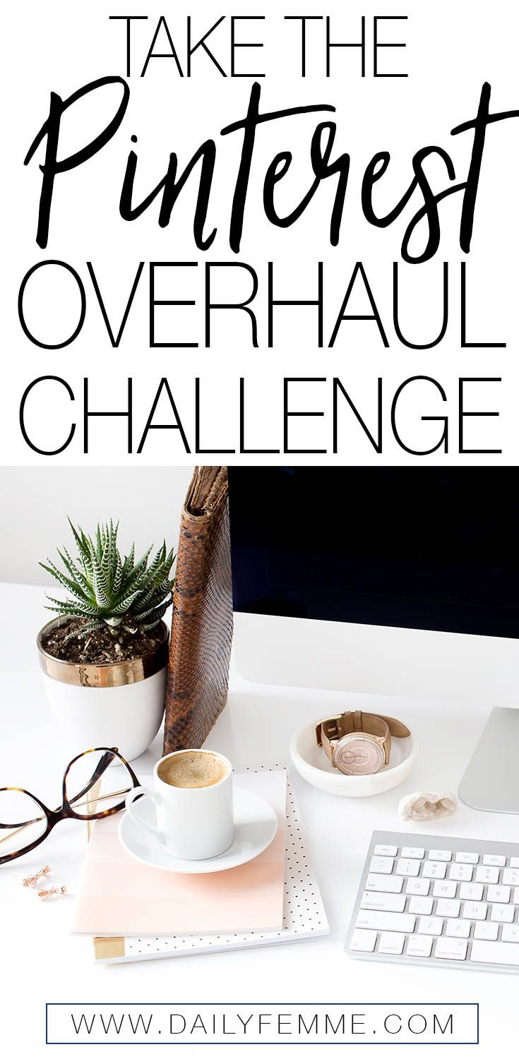 Turn your Pinterest account into a traffic generating machine. The 5 Day Pinterest Overhaul Challenge will walk you through step by step how to set up your account, create targeted boards, design amazing pins and start driving traffic to your website! Take the challenge today.