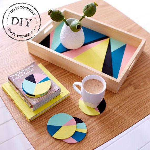 Crafter urbana geométrica que sirve DIY Kit de bandeja y posavasos