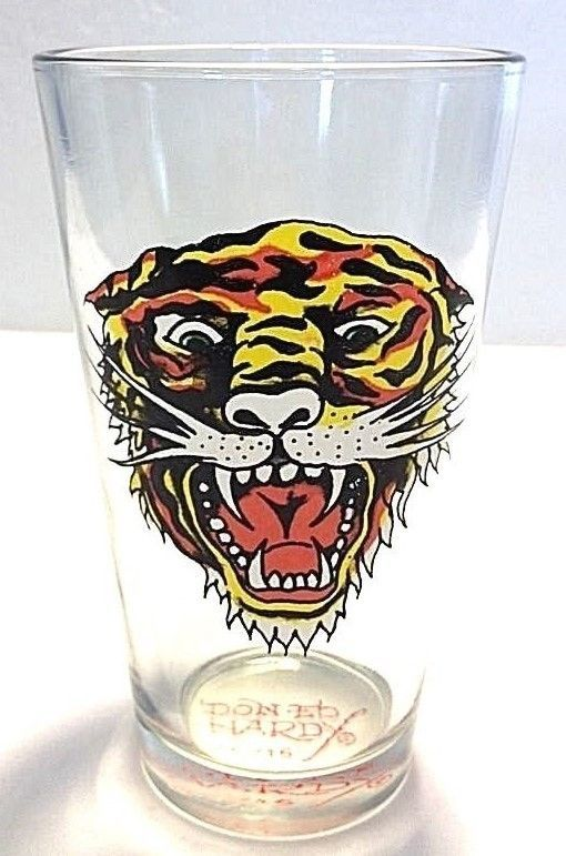 "DON ED HARDY "" WILD TIGER ""  DRINKING  GLASS 5.75+"" NICE REPLACMENT COLORFUL #DONEDHARDYDESIGNS #Glassware"