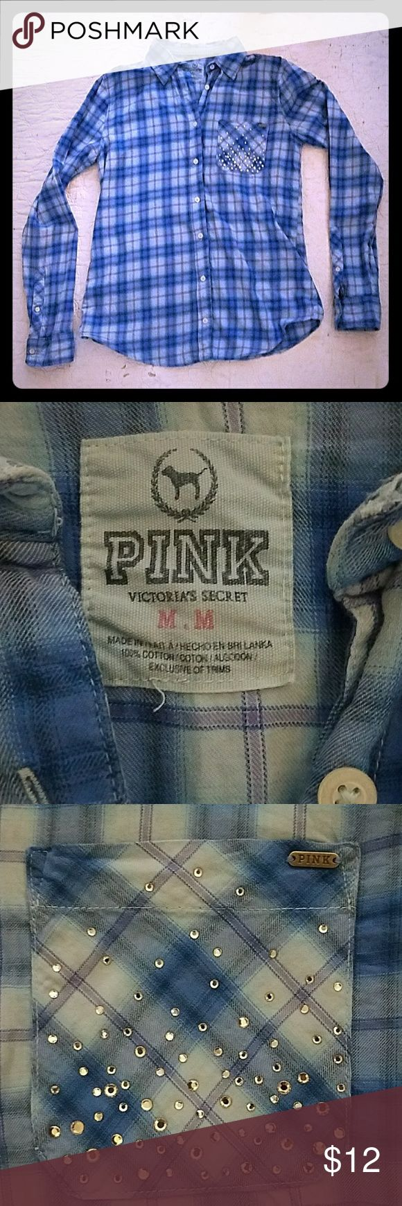 PINK Flannel shirt Very cute and comfy! Great condition! PINK Victoria's Secret Tops Button Down Shirts
