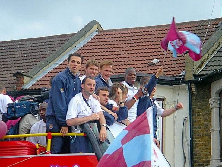 The Hammers celebrating their last play-off victory, in 2005.