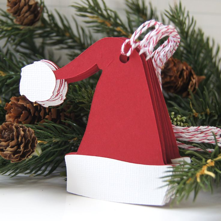 Santa Hat Christmas Tags or Package Labels Qty. 6 by scrapbits, $4.00