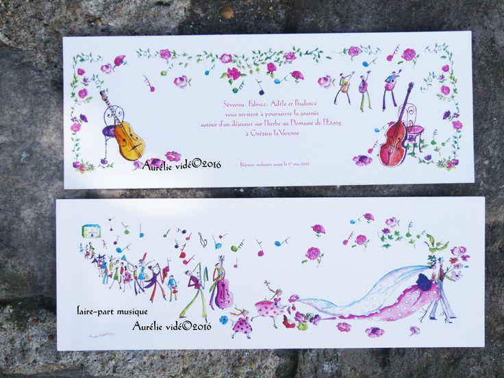 Toujours tendance, voici un faire-part toujours d'actualité pour un mariage champêtre et musical, très coloré. Aurélie sera présente au salon du mariage à paris le 17 et 18 septembre 2016 à porte de versailles, tous pour préparer votre mariage pour l'année...
