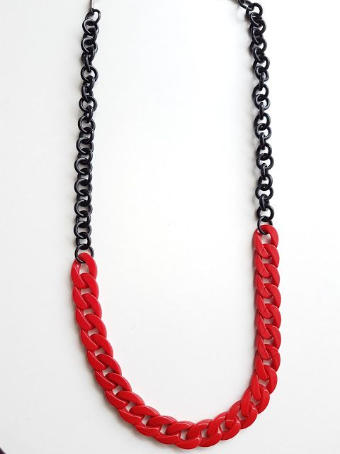 Red and black sunglasses chain.