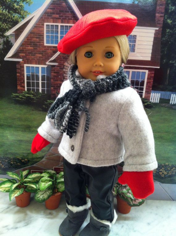 American Girl Doll Clothes-OSU Game Day Coat, Hat, Mittens, Hand-knitted Scarf Custom on Etsy, $29.99