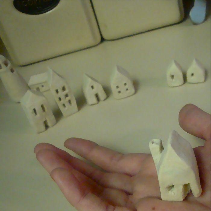 DIY mini clay Christmas village <3 or Harry potter village at Hogsmeade