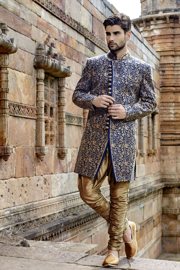 Ink #blue & #gold banarasi silk dazzling jodhpuri bandh gala #sherwani with silk #bridges -IW267