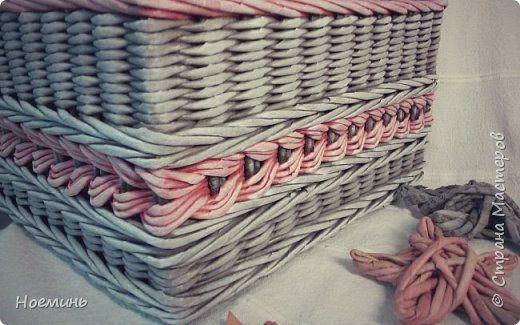 Поделка изделие Плетение Плетеный короб Трубочки бумажные фото 6