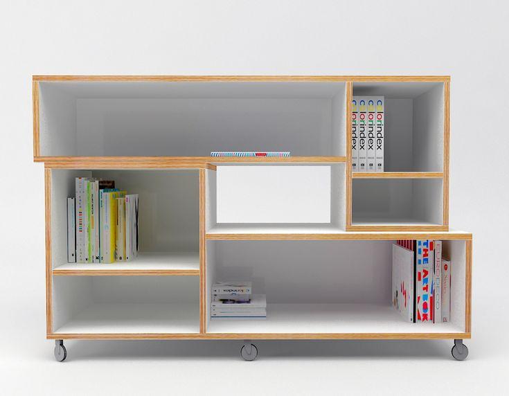 szafka, półki ze sklejki na kółkach Intterno plywood furniture, meble ze sklejki #intterno #plywoodshelve