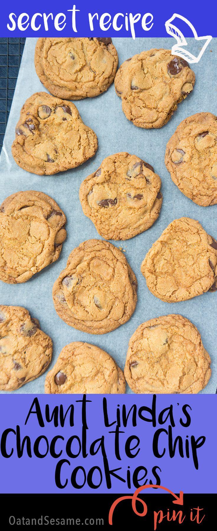 Aunt Linda's Secret Chocolate Chip Cookies - BIG, Chewy + Crisp | COOKIES | BAKING | DESSERT | Recipe at OatandSesame.com