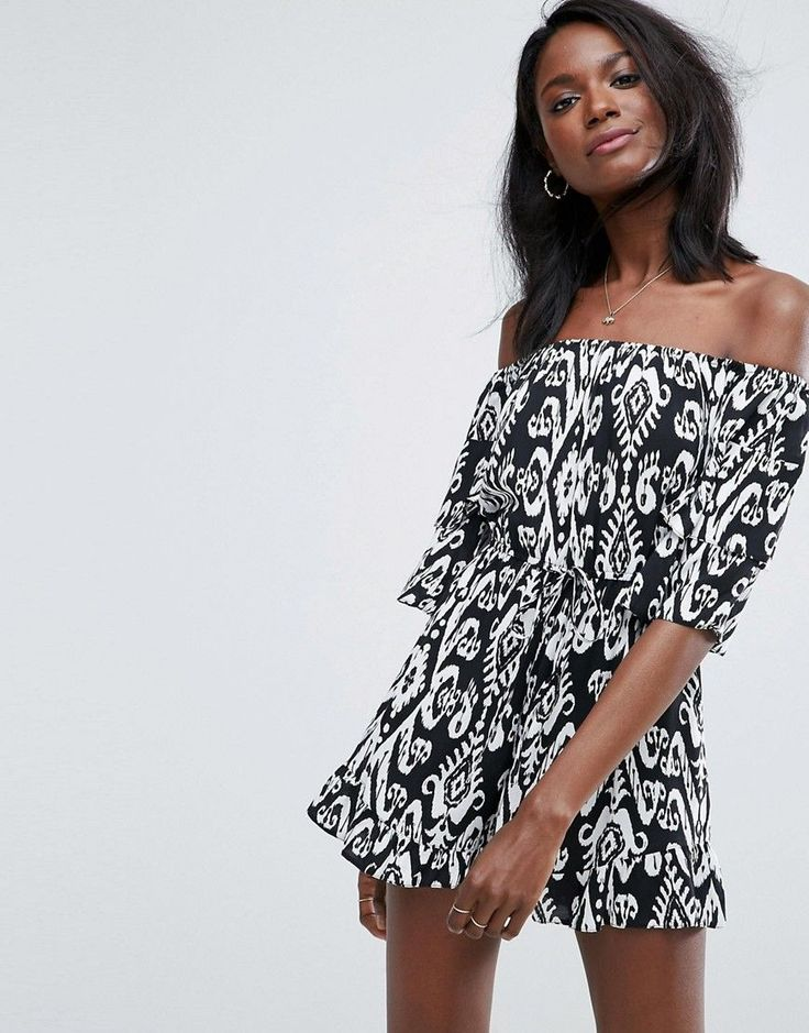 Get this Asos's short jumpsuit now! Click for more details. Worldwide shipping. ASOS Off Shoulder Playsuit with Frill Hem - Multi: Playsuit by ASOS Collection, Printed woven fabric, Off-shoulder design, Ruffle sleeves, Tie-waist closure, Frill hem, Regular fit - true to size, Machine wash, 100% Viscose, Our model wears a UK 8/EU 36/US 4 and is 176m/5'9.5 tall. Score a wardrobe win no matter the dress code with our ASOS Collection own-label collection. From polished prom to the after party…