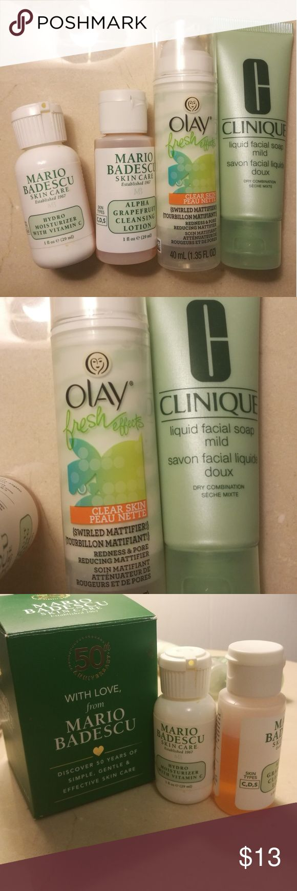 Skin care beauty bundle Bundle of skin care products. Includes 2 travel size Mario Badescu products both 1fl oz: hydro moisturizer and alpha grapefruit cleansing lotion, both sampled only two times. Olay fresh effects mattifier, and Clinique liquid facial soap in 1.7 fl oz used maybe once. Clinique Other