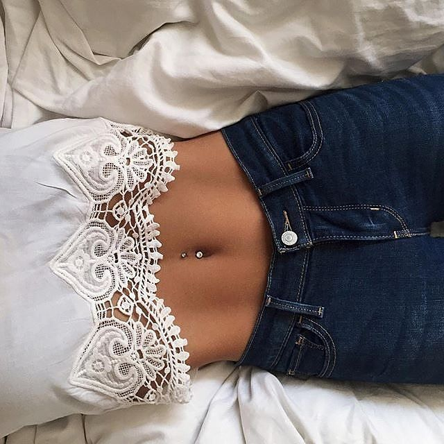 Lace crop top. Belly button piercing!!