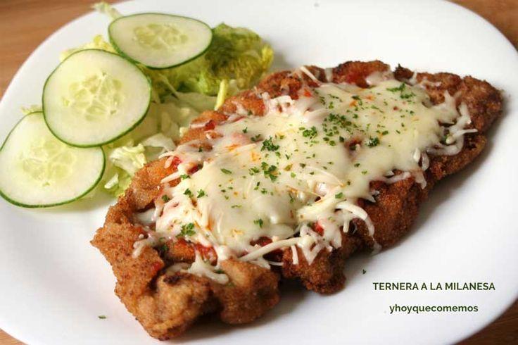Milanesa de Ternera a la Napolitana.  La Milanesa de Ternera a la Napolitana es una receta típica de Argentina y Uruguay. Sencillo y riquísimo.  Se llama Milanesa normalmente a los filetes de carne empanados, como la ternera. Y aunque por el nombre creas que es una receta italiana, te equivocas.  VER RECETA-->https://yhoyquecomemos.com/receta/milanesa-ternera-napolitana/  #comidasana #recetas